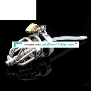 Stainless Steel Chastity Device Cock Cage Penis Ring with Catheter