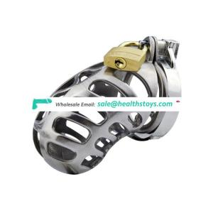 Stainless Steel Male Chastity Device Cock Cage with Barbed Anti-off Ring