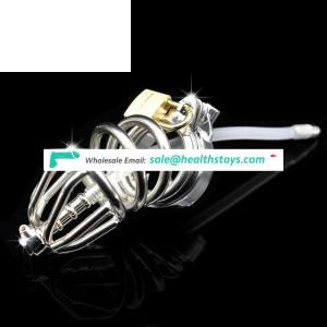 Stainless Steel Male Chastity Device Penis Cage Cock Lock with Catheter