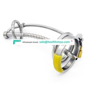 Stainless steel Bondage Male Curving Chastity device with Urethral Tube