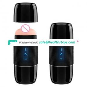USB Recharge Bluetooth Speaker Masturbation Cup Vibrating Masturbator For Man Silicone Realistic Vagina Sex Toys