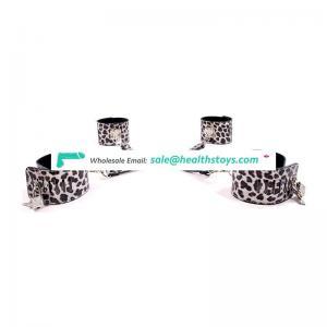sex bdsm bondage restraint hand cuffs adjustable Leopard  Leather handcuffs & anklecuffs for women