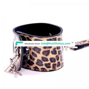 sex bdsm bondage restraint hand cuffs adjustable Leopard  Leather handcuffs & anklecuffs for women